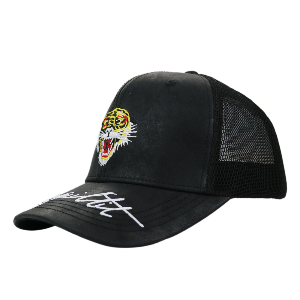 Custom curved brim PU leather and mesh trucker <strong>cap</strong>