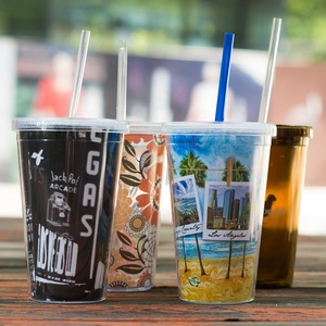 B03-1065 Best Price 16OZ Plastic Double Wall Tumbler With Straw