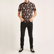 Heren Korte Mouw Custom Polyester Bloemenprint Button Down Up Shirts