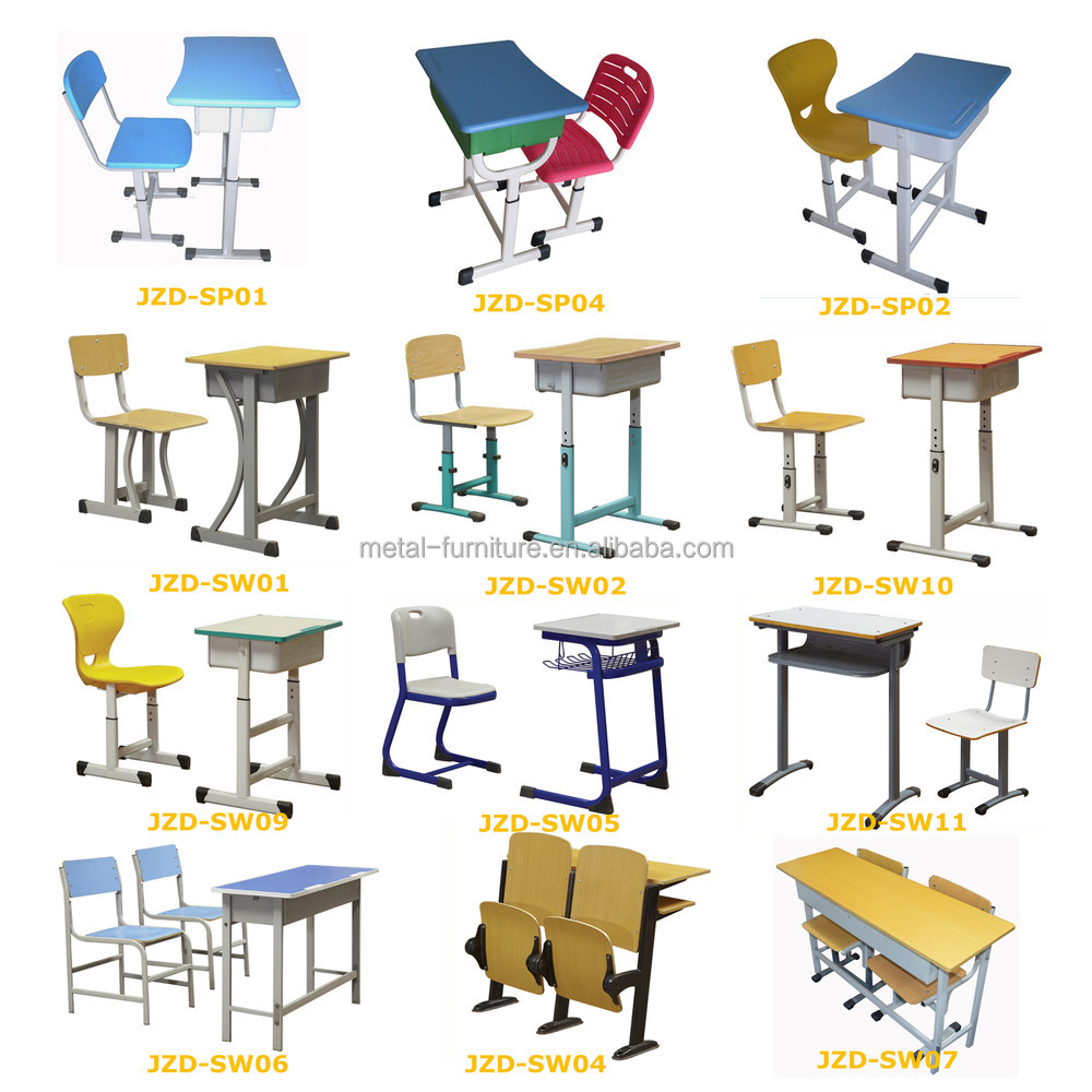 Table And Bench Classroom Student Steel Wooden Adjustable School ...