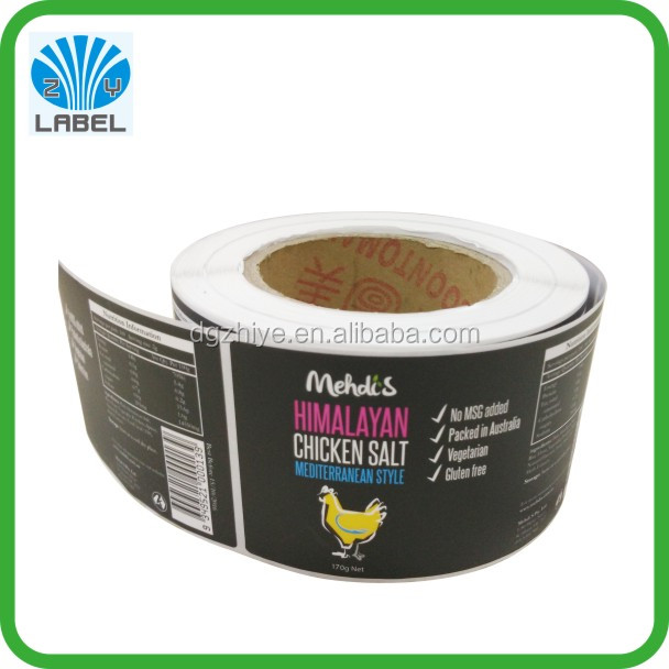 Custom self adhesive label matte lamination for food label sticker printing