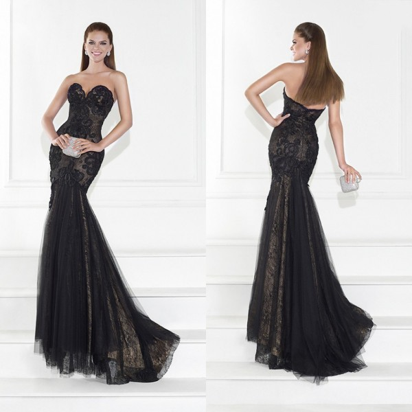 2f47a8b847d Get Quotations · 2015 Tarik Ediz Elegant Black Formal Evening Dresses Lace  Tulle Backless Sweetheart Neckline Sweep Train Hot