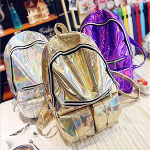 fashion pu leather girls trendy hologram backpack laser holographic school backpack for lady