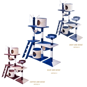 GMT8214 china supplier high quality OEM ODM indoor cat pet use sisal rope paper plush luxurious kratzbaum cat tree