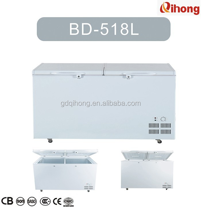 BD-518L manufacturers of partition small top double solid two door low noise deep fridge refrigerator chest frozen freezer