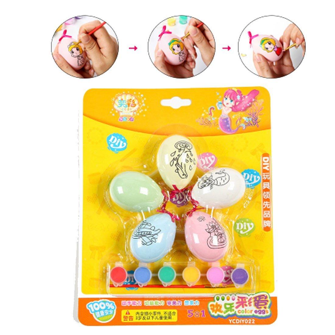Polade DIY Easter Eggs Plastic Bright Egg Child Painted Eggshell Plastic painted Festivals Home Decor Diy Easter Egg Toys