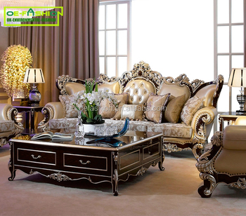 OE-FASHION Luxury durable leather sofa, latest sofa set designs living room furniture