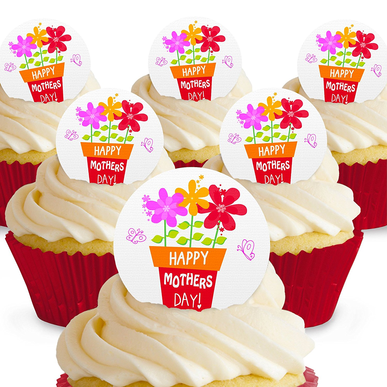 Cakeshop 12 x PRE-CUT Happy Mothers Day Plant Pot Edible Cake Toppers