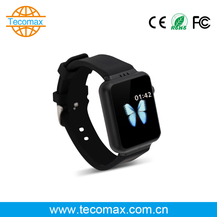 OEM ODM all black 2.0mp camera 3G wifi Android smart watch with Single SIM card