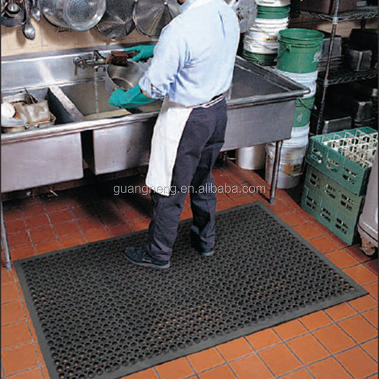 Restaurant kitchen drain slip Great Wall SBR Rubber Mat Rolls ,anti fatigue floor matting ,rubber tactile indicator mat