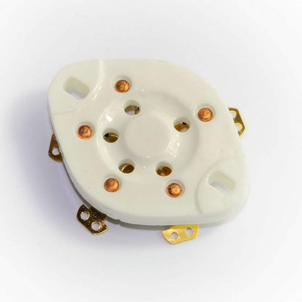 Cary 4pcs 5pin Gold Chassis Ceramic Vacuum Tube Socket Base for 807 Fu7 27 46 47 37