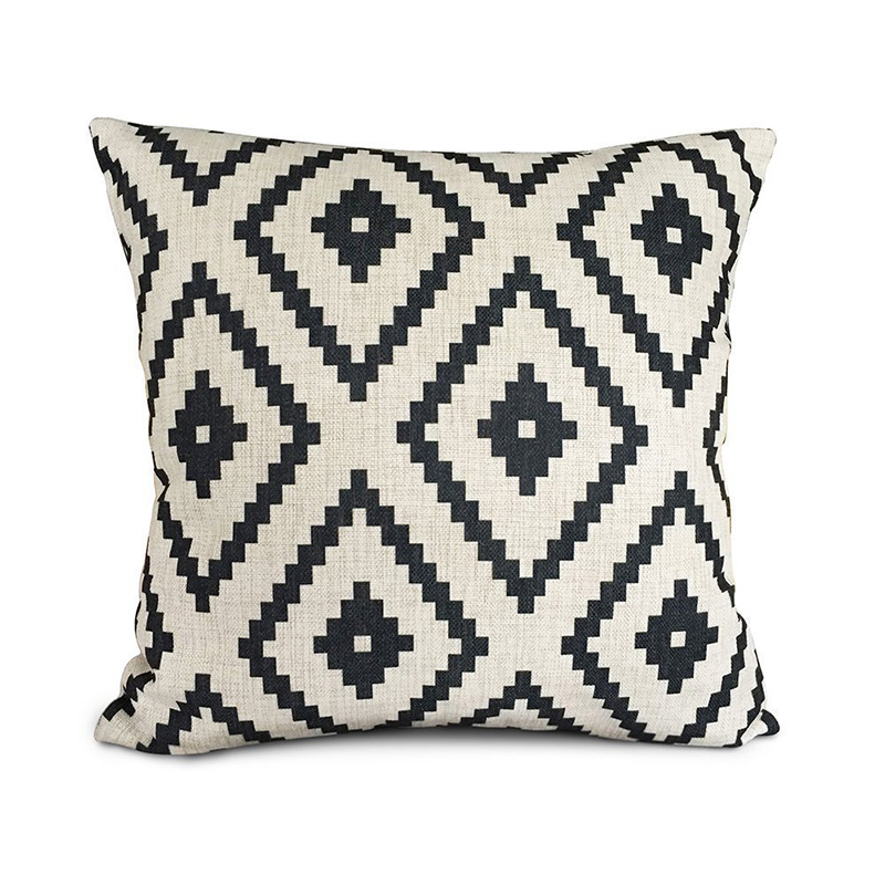 enterhome white and black geometry polyester home decorative accent throw pillow cover cushion. Black Bedroom Furniture Sets. Home Design Ideas