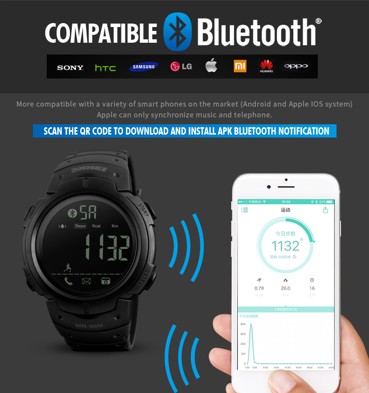 Herrenuhren Skmei Männer Smart Uhr Calorie Pedometer Multi-funktionen Fernbedienung 50 M Wasserdichte Digitale Sport Männer Smartwatch Relogio Masculino