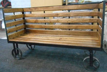 Industrial Furniture - Movable Sitting Bench With Wheels