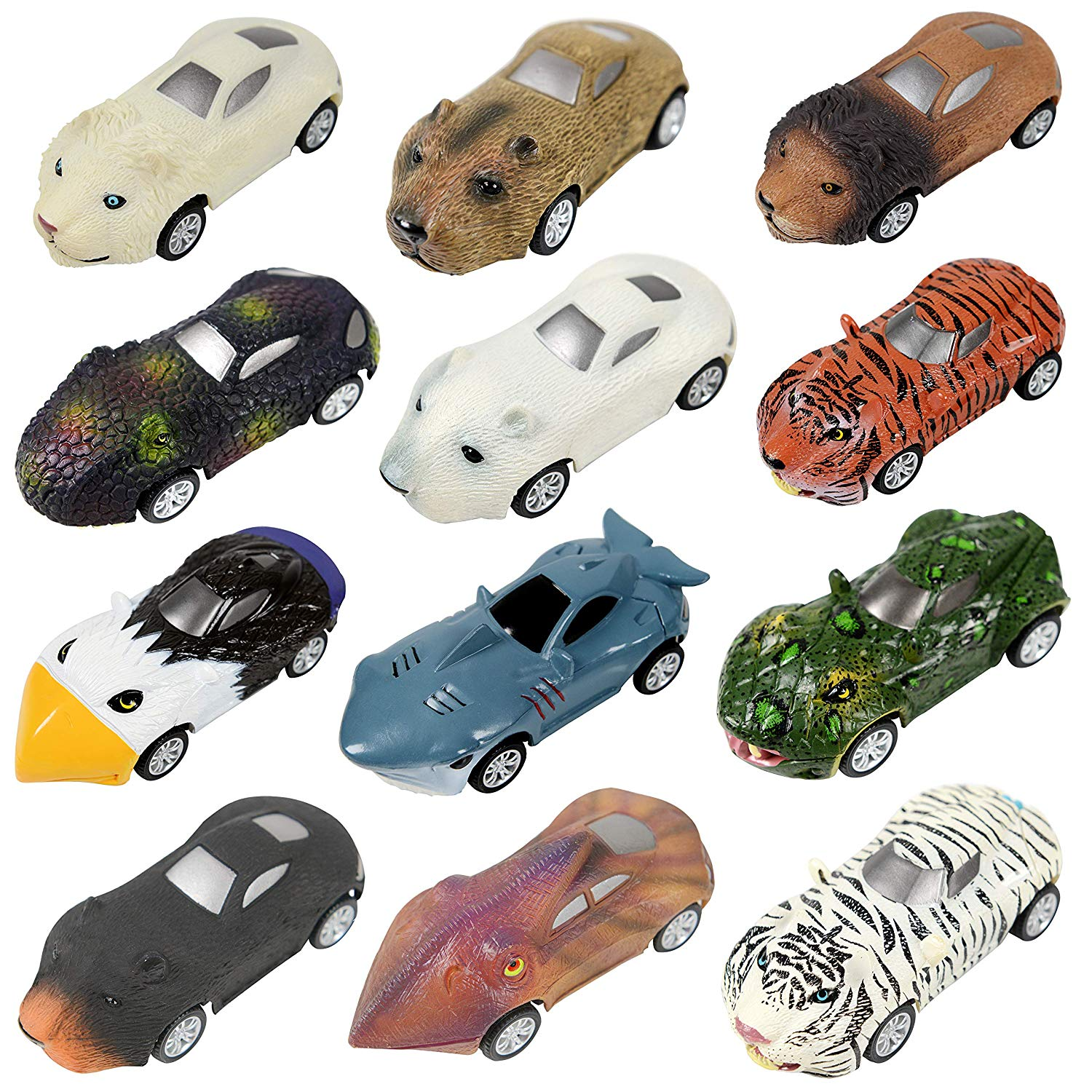 Original Color Animal Car,12 Pack Mini Pull Back Animal Vehicle Set,Mini Assorted Wild Animal Toy Car for Toddlers Boys Girls,Animal Vehicles Playset for Kids Party Favors