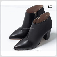 wholesael china shoes round toe low heel thick outsole lace up gray high quality pu upper cheap woman ankle boot