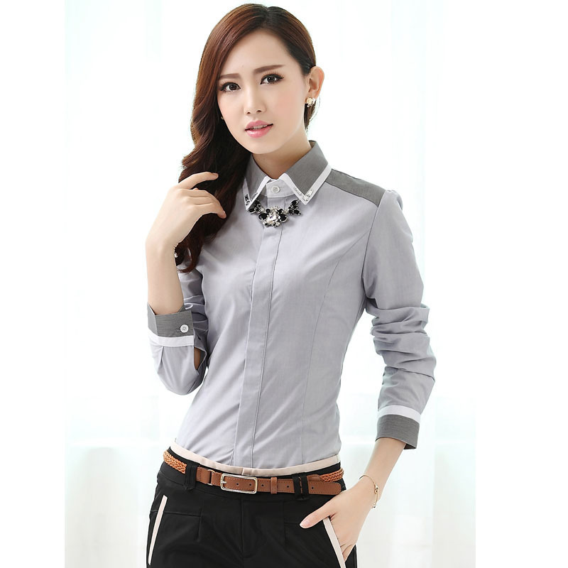 3ffff745 Get Quotations · Women's Brand blouses Shirts plus size 2015 Fall winter  Fashion thicken Patchwork slim shirts Ladies Casual