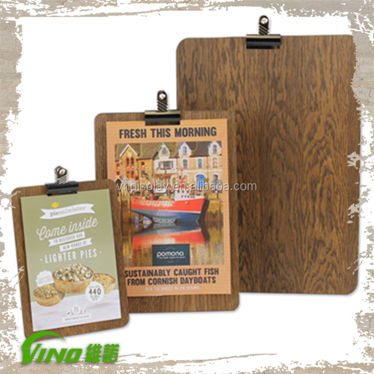 Natural Wooden Clip Board Flyer Display Stand For Restaurant Menu ...