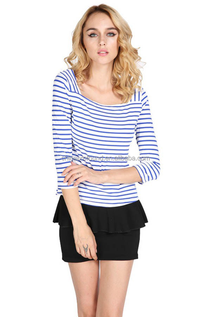 square neck t shirt design fashion stripe t shirt 3 4 sleeve t shirt