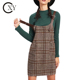 Custom Women Elegant Tartan Plaid Buckle Detail Overall Dress With Pockets