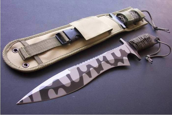 440c Fixed Blade Rope Handle Military Knife With Nylon Scabbard ...
