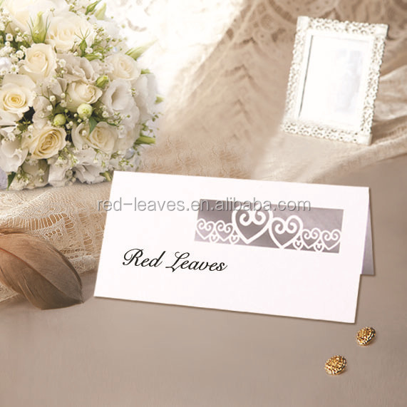 Popular laser cut customizable paper romatic heart design wedding invitation seat table place card thanks cards