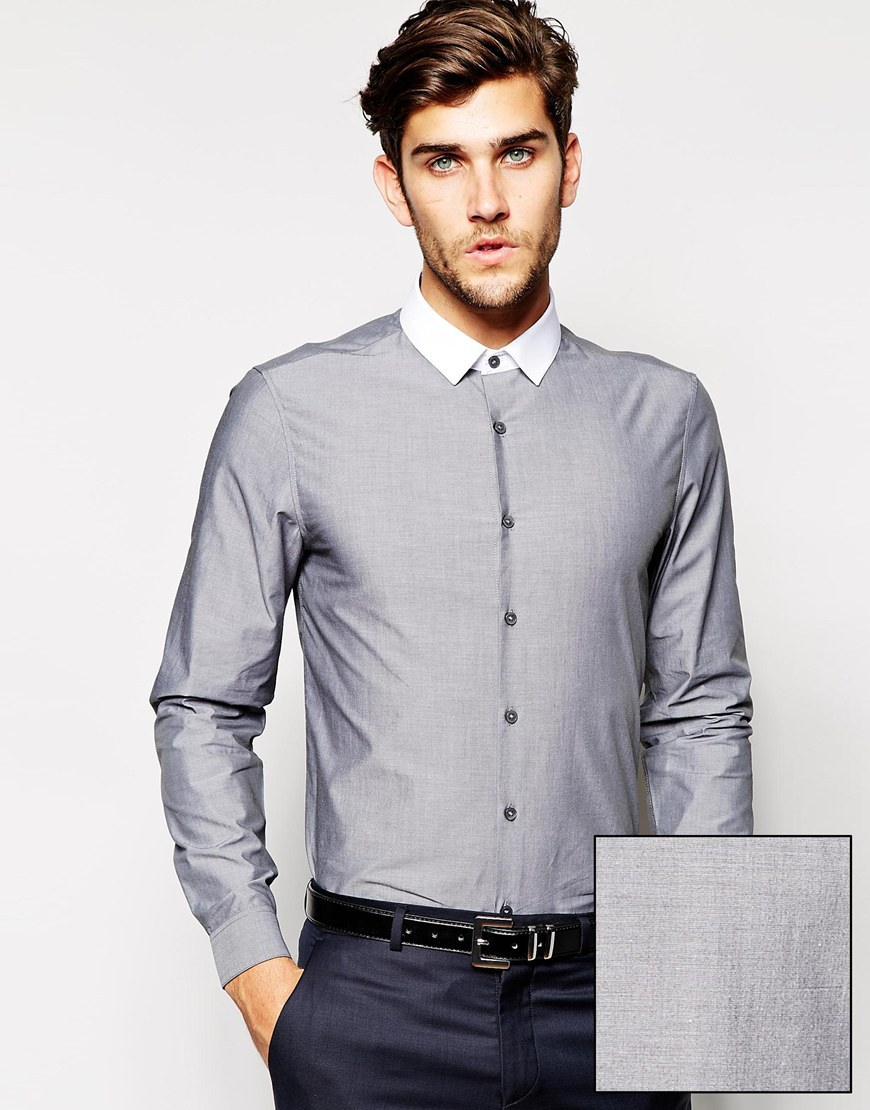 Shirt design of man - Contrast Collar Slim Fit Men Dress Shirt Design