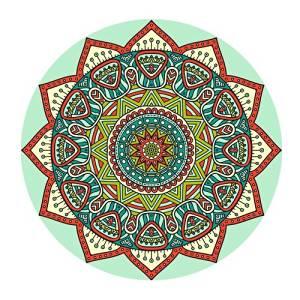 Custom Evergreen Fashion Beautiful Mandala Aztec Pattern Customized Round Mousepad