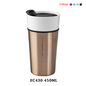 Wholesale custom 450ml manufacturer blank double walled ceramic porcelain coffee travel mug with pp lid