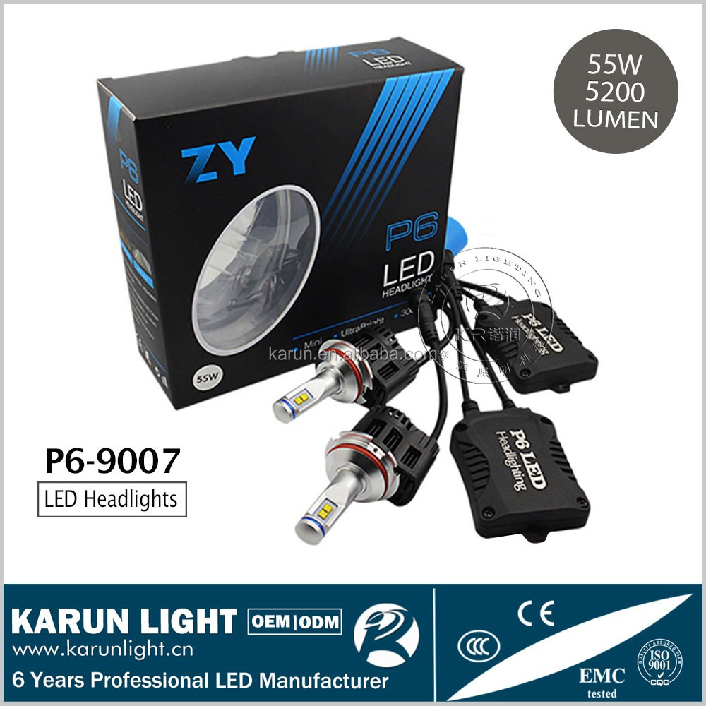 KARUN P6-9007-55W-5200LM Super Bright 55W MZ 5200LM/Bulb led headlight bulb 9007