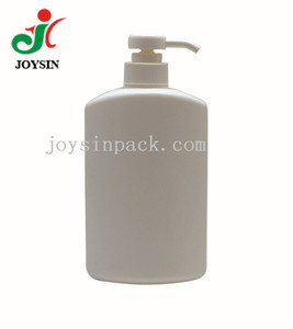 Empty 23.3oz Rectangle Flat Oblong 32/410 Neck Shower Gel Container 700ml HDPE Plastic Pump Shampoo Bottle with Crimped Pump