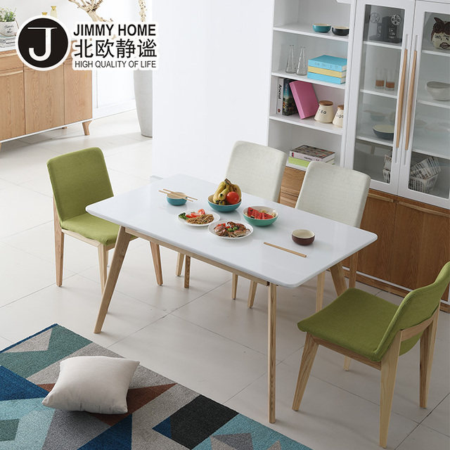 Nordic Style Dining room furniture MDF board square white dinner table set with round corner
