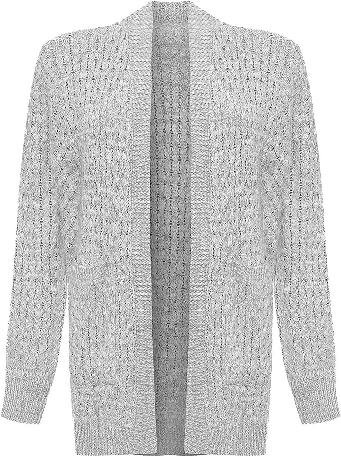 Rimi Hanger Womens Open Front Boyfriend Cable Knitted Cardigan Ladies Front Pocket Long Top S/3XL