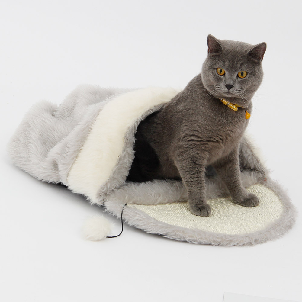 Cat Bed Cave Pet Products Toys Ball Kennel Dog Tent Scratch Sisal Hemp Cats Kitten Sleeping Bag Puppy Soft Warm House 2size M L