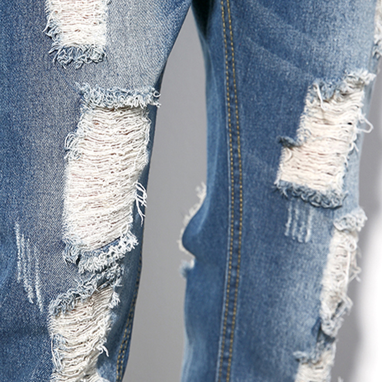 Hoge kwaliteit lage MOQ groothandel slim fit fashion cut up jeans denim ripped jeans
