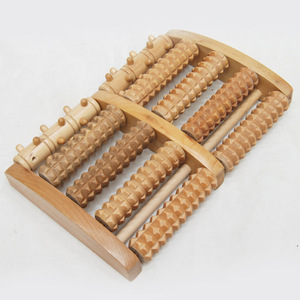 OEM private label high quality durable non toxic health care wood five roller foot massager