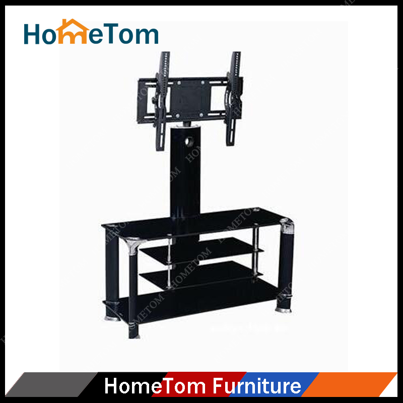 New design black aluminum tube 4-layers tv table glass top