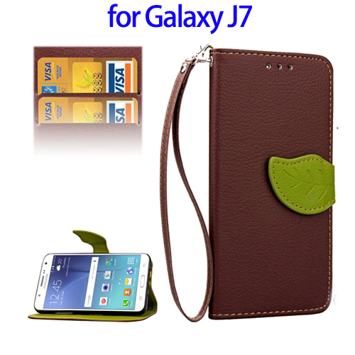 Special Leaf Magnetic Leather Case for Samsung Galaxy J7, Litchi Texture PU Case for Galaxy J7