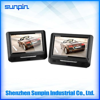 sunpin oem 9 inch double din car pillow headrest mounted kids portable dvd player for travelling