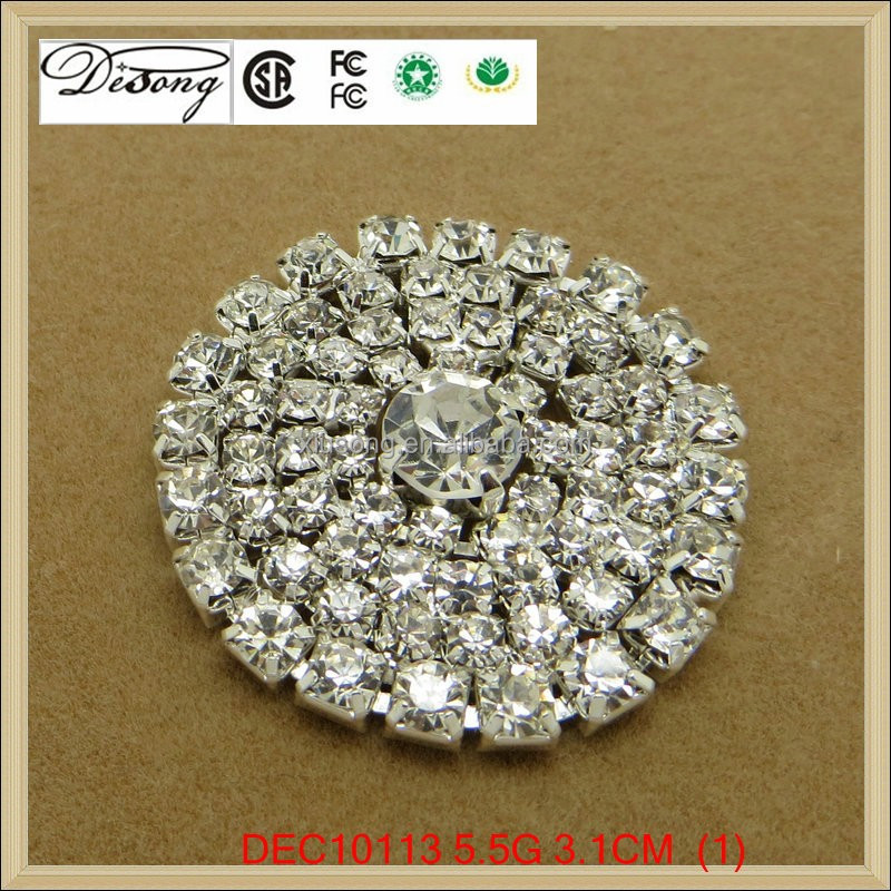 DEC10113 Silver Round Metal Crystal Clear Rhinestone Buttons for wedding / hair / dress / garment accessories