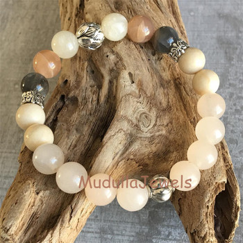 Wm17082944 Zen Jewelry Meditation Beads Rose Quartz White Onyx Agate Smoky Crystal