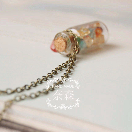 Nesson Original Charm small fresh Colorful crystal artificial-stone gravel glass-bottle necklace pz03