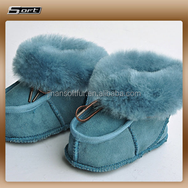 Modern comfortable genuine sheepskin boots for babies