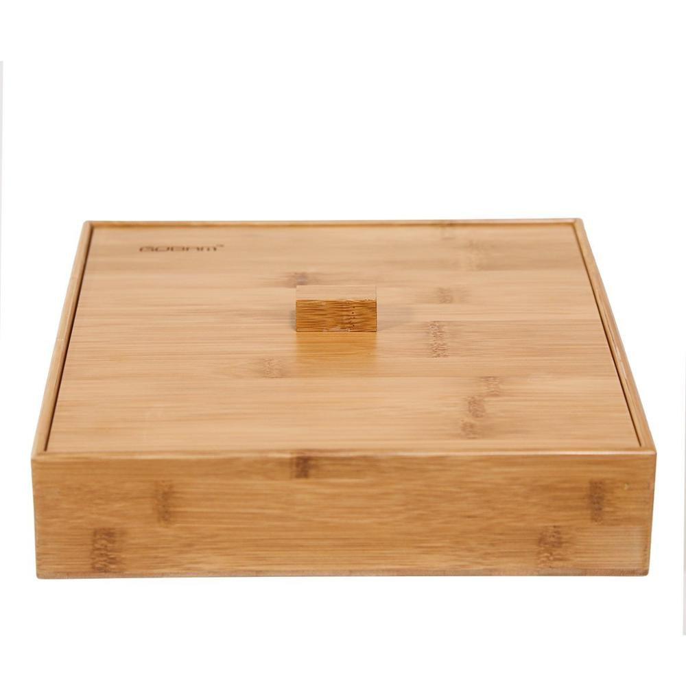 Divided Wood Bamboo Snacks Fruit Serving Tray With Lid 3