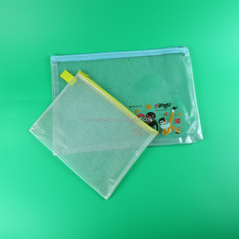 fashion customized printed clear pvc slider zipper bag pencil bags for stationery and office