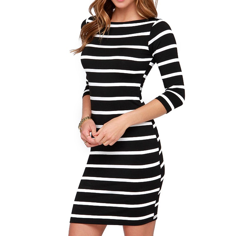 Large Size 2018 Autumn Summer Dress Big Size Black White Striped ...