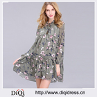 2017 New Arrival Spring Women's Clothing O-Neck Fashion Floral Print Plus Size Loose Chiffon ruffles Dress