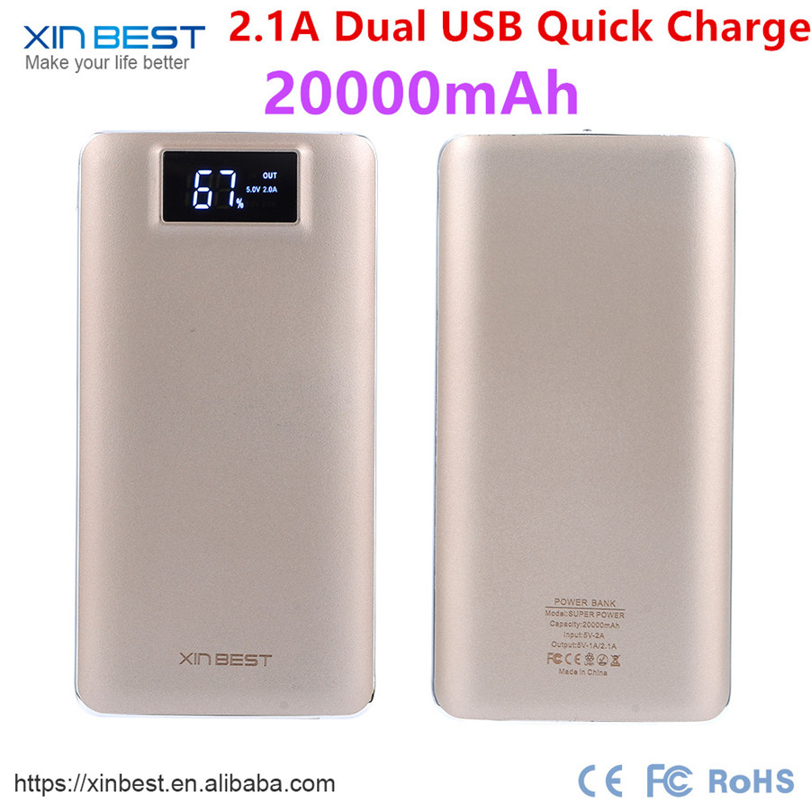 2017 New Arrival OEM Full Capacity Portable ROHS Power Bank 20000mAh For Mobile Phones
