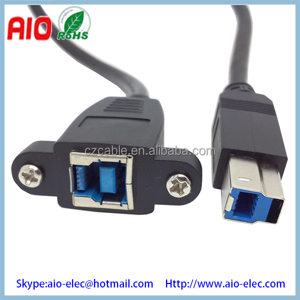 USB 3.0 B male to female extension cable with screw holes can locked the front or rear of panel