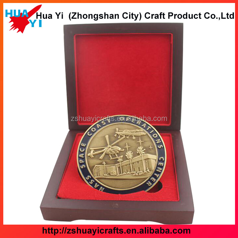 Factory oem ancient copper plated cheap custom coins with wood box packing